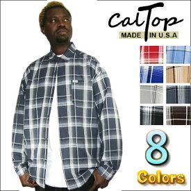 【あす楽】【2枚で送料無料】【Made in USA】【全8色】CalTop チェック柄 L/Sシャツ[カルトップ]チェックシャツ キャルトップ シャツ カルトップ 長袖 チェックシャツ メキシカン チカーノ ギャング ローライダー メンズ 大きいサイズ シャツ S M L LL 2L 3L 4L 5L