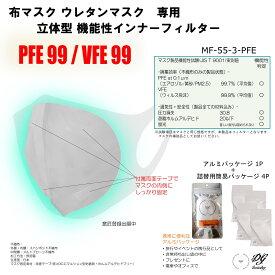 貼れる マスク フィルター 立体 3D シート 50枚 高性能 PFE99.7% VFE99.9% ホルムアルデヒドフリー (JIS T9001)両面テープ付き 立体タイプ ホワイト /布 ウレタン マスク インナー フィルター 花粉 PM2.5 黄砂 ウィルス 飛沫 日本製 不織布 メルトブロー お出かけ 送料無料