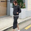マフポケットスウェット&スカートSET・p94140 【ops】【韓国 ファッション トップス スウェット 長袖 ラウンドネック …