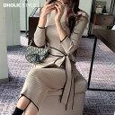 配色ラップディテールリブニットワンピース・p202937 レディース 【ops】【韓国 ファッション ワンピース ミディ ミデ…