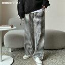 ギンガムチェックパンツ・p136879 レディース 【pt】【韓国 ファッション パンツ ズボン ロングパンツ ワイドパンツ …