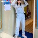 ストレートデニムサロペットパンツ・p178320 レディース 【pt】【韓国 ファッション オールインワン サロペット オー…
