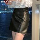 裏起毛レザーライクミニスカート・p115772 レディース 【sk】【韓国 ファッション スカート ミニスカート ミニ ショー…