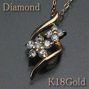 ダイヤモンド ペンダントネックレス大小2つ並んだフラワーモチーフがアクセントダイヤモンド0.13ctK18Gold(ゴールド)/k18/18金アズキチェーン(アジャスター管付)【花】【送料無料】 10P03Dec16