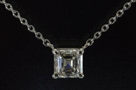 アッシャーカットダイヤ一粒ネックレス0.5カラットEカラーVS1アッシャーカットダイヤさんのノーブルな透明感が美しく上品なダイヤネックレスプラチナ