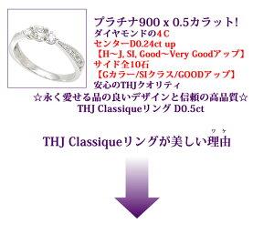 Pt900THJClassiqueリングD0.5cte