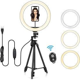 【KEMUR公式】 13インチLEDリングライト 三脚スタンド付き YouTube ビデオ録画 セルフィー ライブストリーム メイクアップ/写真撮影用の調光可能なテーブルリングライト 携帯電話ホルダー付き