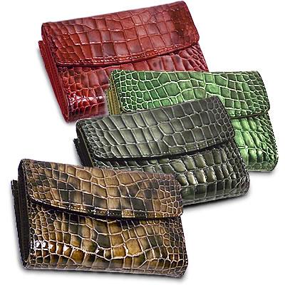 ホック式三つ折り本革レザー財布 ≪イタリア名門タンナー グラデーション艶クロコ型押し エナメル×プラダ御用達ナイロン≫