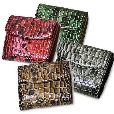 Wホック式二つ折り本革レザー財布 ≪イタリア名門タンナー グラデーション艶クロコ型押し エナメル×プラダ御用達ナイロン≫