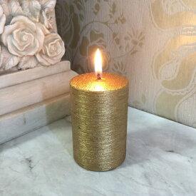 キャンドル ネオブラッシュピラーS ゴールド 直径5cm クリスマスやパーティー フラワーアレンジメントに