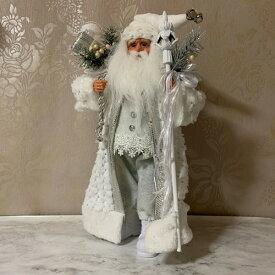 【クリスマス雑貨】サンタフィギュア ホワイト 白でコーディネートしたサンタクロース人形 クリスマスのインテリアに!玄関やリビング、お店のディスプレーに♪【送料無料】(北海道¥1,500/沖縄¥2,000送料別途)