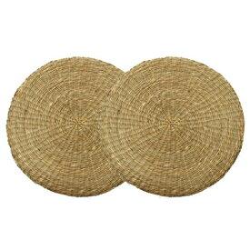 七島い草 クッション 座布団 『シーグラス』 約40cm丸 2枚組 2504160