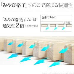 1秒で簡単布団干し!アシスト機能付き「みやび格子」すのこベッド〔エアライズ〕シングル