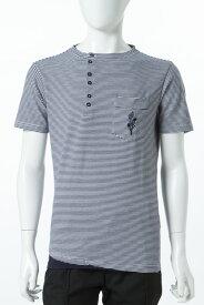 ダニエレアレッサンドリーニ DANIELEALESSANDRINI Tシャツ 半袖 ヘンリーネック MAGLIA TENT MC ST RIC メンズ M6097E6763700 ホワイト×ネイビー 送料無料 楽ギフ_包装 10%OFFクーポンプレゼント