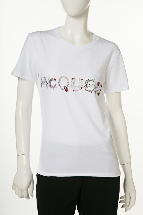 アレキサンダーマックイーン AlexanderMcQueen Tシャツ 半袖 丸首 レディース 507108 QKZ08 ホワイト 送料無料 楽ギフ_包装 3000円OFF クーポンプレゼント 2018年春夏新作 2018SS_SALE