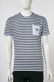 ダニエレアレッサンドリーニ DANIELEALESSANDRINI Tシャツ 半袖 丸首 MAGLIA TALPA BIC ST メンズ M6573E6793800 ホワイト×ブルー 送料無料 楽ギフ_包装 10%OFFクーポンプレゼント