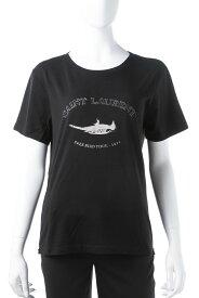 サンローランパリ SAINT LAURENT PARIS Tシャツ 半袖 丸首 クルーネック レディース 553443 YB2ZO ブラック 送料無料 楽ギフ_包装 2019年春夏新作 10%OFFクーポンプレゼント 【ラッキーシール対応】 2019SS_SALE
