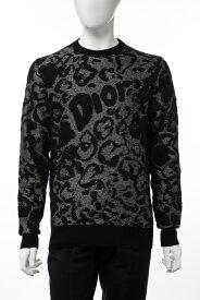 クリスチャンディオール Christian Dior セーター プルオーバーニット 長袖 丸首 クルーネック メンズ 933M644AT974 ブラック×グレー 送料無料 楽ギフ_包装 10%OFFクーポンプレゼント 2019年秋冬新作 【ラッキーシール対応】