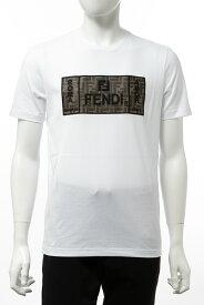 フェンディー FENDI Tシャツ 半袖 丸首 クルーネック メンズ FAF532 A8K5 ホワイト 送料無料 10%OFFクーポンプレゼント 楽ギフ_包装 2019年秋冬新作 【ラッキーシール対応】