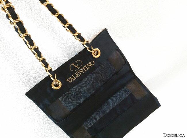 【VALENTINO】ヴァレンティノ シースルーモダン ヴィンテージ ショルダーバッグv1054【DIGDELICA】ブラック・黒 ヴァレンチノ バッグ