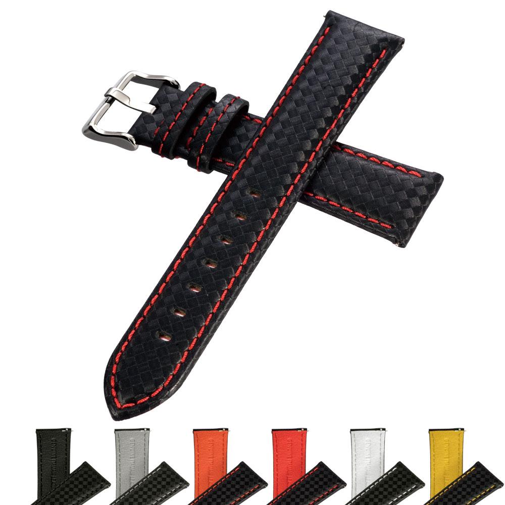 時計 ベルト イタリアンレザー カーボン 腕時計 バンド イージークリック 18mm 20mm 22mm
