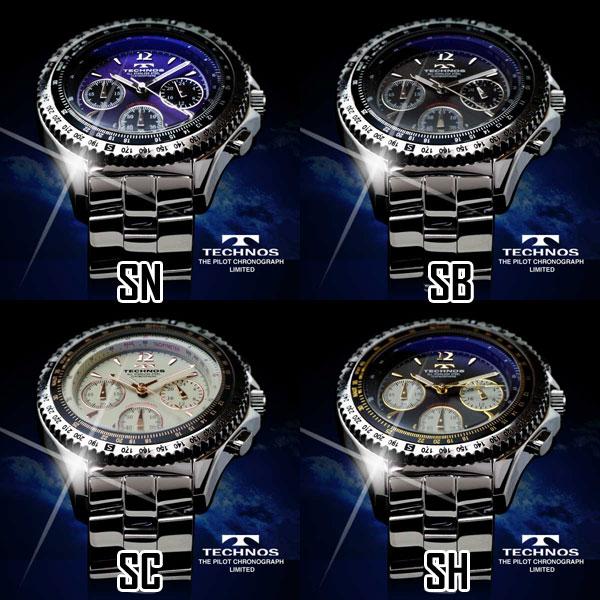 TECHNOS テクノス パイロット・クロノグラフ 限定モデル メンズ 腕時計 T4162 選べる4タイプ