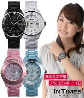 ☆=即納=☆INTIMES(インタイムス)日本初上陸ブランド!40mmスワロフスキー11石メンズ/レディースサイズ腕時計選べる3色♪