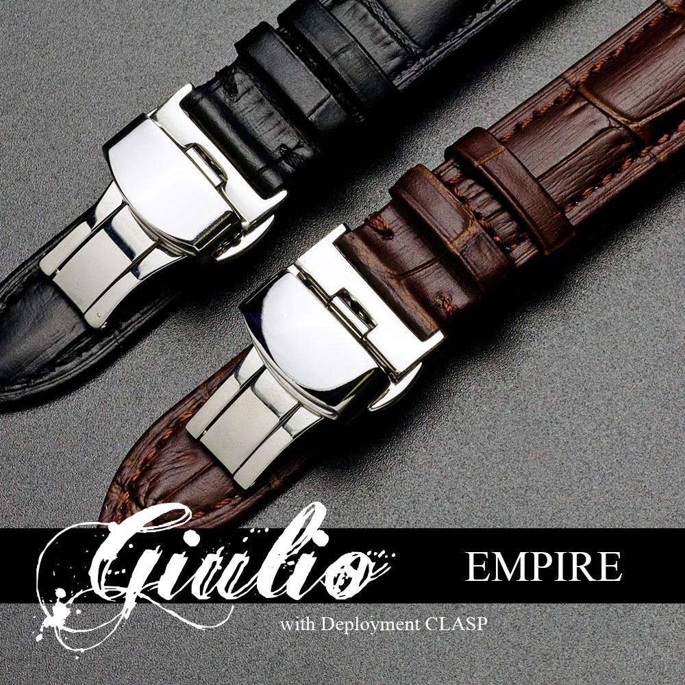腕時計 ベルト バンド EMPIRE GIULIO ジュリオ クロコ型押し レザー 時計 ベルト 革 Dバックル イージークリック 18mm 20mm