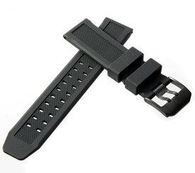 ルミノックス向け 時計 ベルト 23mm 互換 替え 汎用 ウレタン ラバー ベルト (ブラック×ブラック尾錠, 23mm) 適合モデル:3040 3050 3080 3400 3950 8400シリーズほか