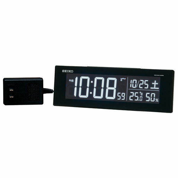 SEIKO セイコー 目覚まし時計 夜でも見える 置き時計 電波 DL305K シリーズC3 デジタル 表示色が選べる 温度計 湿度計 おしゃれ【お取り寄せ】