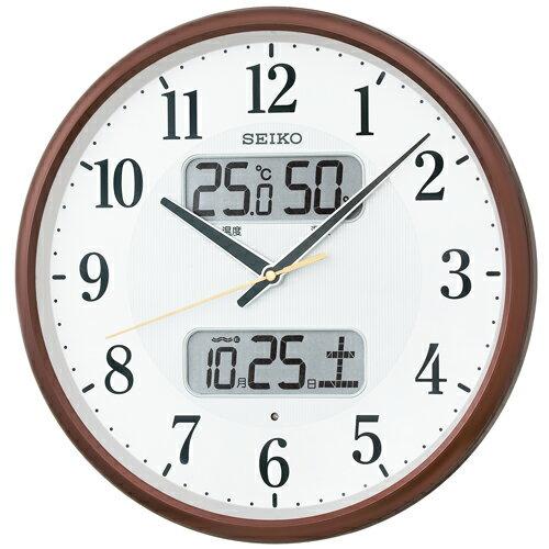 SEIKO セイコー 掛け時計 液晶表示付 電波 アナログ カレンダー 温度 湿度表示 茶メタリック KX383B【お取り寄せ】