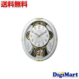 【送料無料】ディズニー ミッキー&フレンズ 掛け時計 電波時計 からくり時計 メロディ付き 白 リズム時計 4MN509MC03