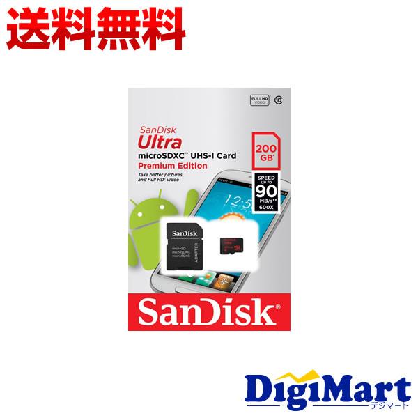 【送料無料】サンディスク Sandisk microSDXC UHS-1 Class10 200GB [SDSDQUAN-200G-G4A] 90MB/s SD変換アダプター付属 【海外向パッケージ品】
