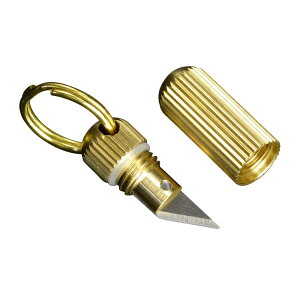 ミニカッターナイフ 真鍮製 カプセル型 ステンレスブレード 防水 小型 キーホルダーナイフ キーチェーンナイフ キーリングナイフ ミニチュアナイフ ペーパーナイフ 紙用ナイフ レターオー