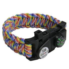 多機能 パラコードブレスレット LEDライト ホイッスル付 [ レインボー ] パラシュートコード コード・ブレス 腕輪 ナイロンブレスレット コンパス ファイヤースターター 缶切り 緊急 災害