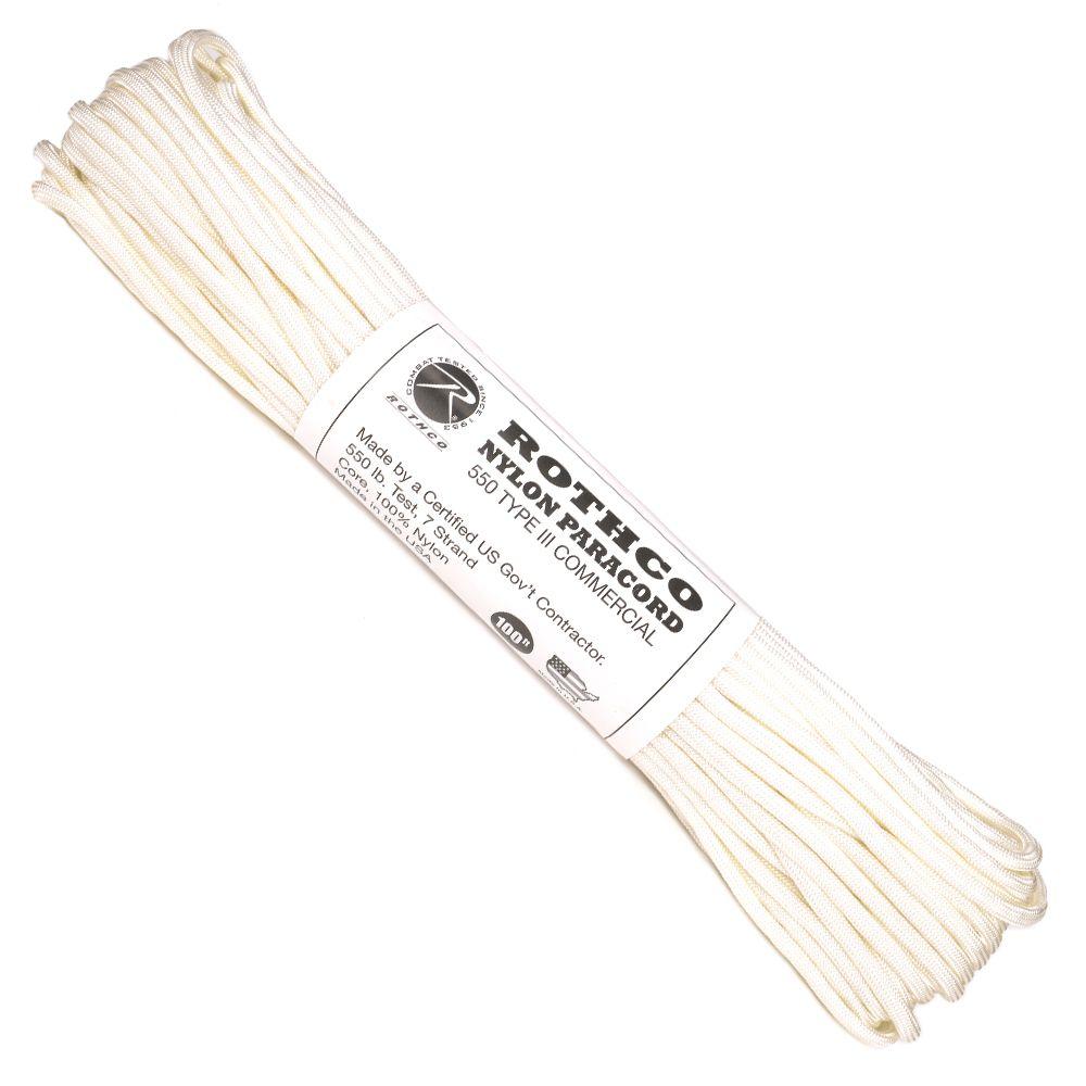 ROTHCO パラコード タイプ3 ホワイト [ 30m ] ロスコ 550パラコード パラシュートコード ロープ 綱 靴紐 靴ひも シューレース