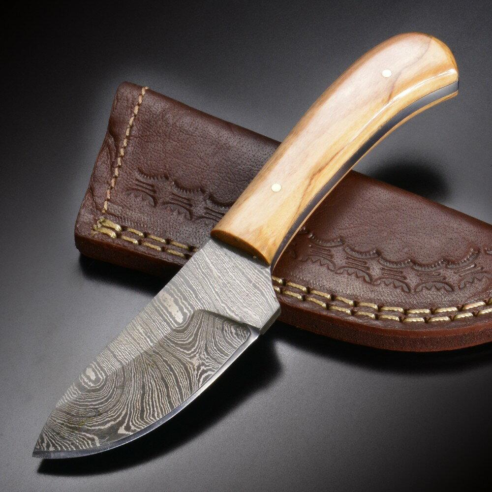 スキナー DM1080OW ダマスカス オリーブウッド Damascus Blade Knife 皮剥ぎナイフ ハンティングナイフ ハンターナイフ 狩猟 サバイバルナイフ シースナイフ