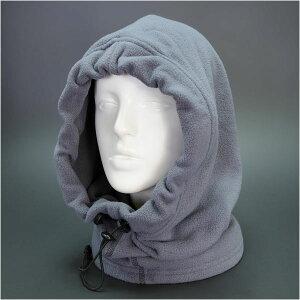 フードウォーマー フリース [ グレー ] フード付き ネックウォーマー 目出し帽 フリースマスク 防寒マスク 防寒用フェイスマスク 防寒対策 防寒グッズ スヌード マフラー