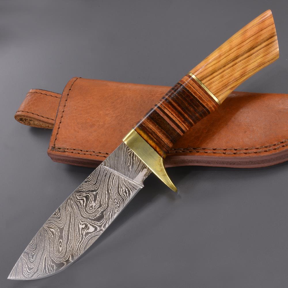 ハンティングナイフ ダマスカス鋼 DM1100 Damascus Blade Knife スキナー ハンターナイフ 狩猟 解体用 スキニングナイフ サバイバルナイフ シースナイフ