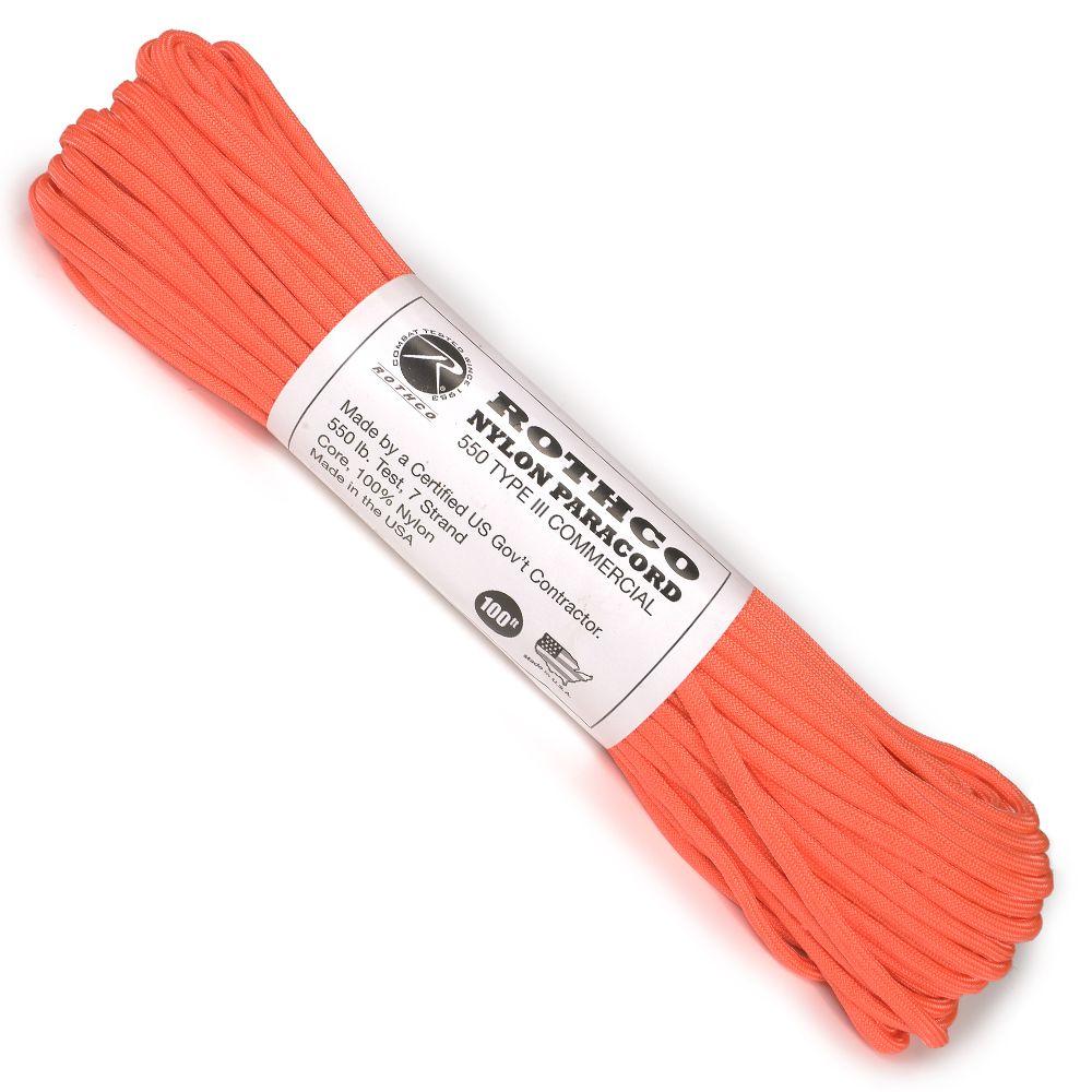 ROTHCO パラコード タイプ3 セーフティオレンジ 30m ロスコ 550パラコード ロープ 綱 靴紐 靴ひも ザイル シューレース