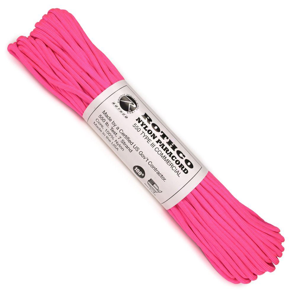 ROTHCO パラコード タイプ3 ネオンピンク 30m 蛍光ピンク ロスコ 550パラコード ロープ パラシュートコード 綱 靴紐 靴ひも シューレース