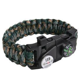 多機能 パラコードブレスレット LEDライト ホイッスル付 [ ウッドランドカモ ] パラシュートコード コード・ブレス 腕輪 ナイロンブレスレット コンパス ファイヤースターター 缶切り 緊急 災害
