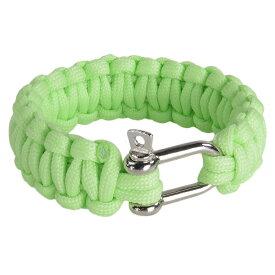 パラコードブレスレット シャックル 蓄光 [ グリーン ] パラシュートコード コード・ブレス 腕輪 ナイロンブレスレット