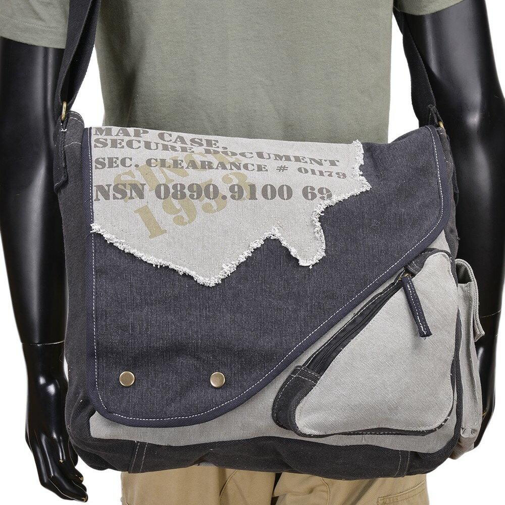 ROTHCO ショルダーバッグ ヴィンテージキャンバス ツートンカラー [ グレー&ブラック ] ショルダーバック メッセンジャーバッグ かばん カジュアルバッグ カバン 鞄 ミリタリー 帆布 斜めがけバッグ 肩掛けバッグ