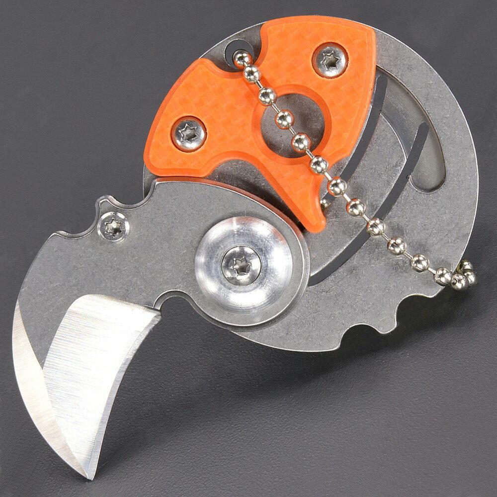 折りたたみコインナイフ ロック機能なし ボールチェーン付 [ オレンジ ] 折り畳みナイフ フォルダー フォールディングナイフ ホールディングナイフ