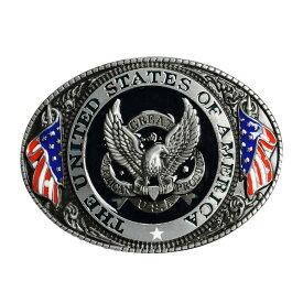 ベルトバックル イーグル 星条旗 U.S.A [ ブラック ] 交換用 ベルト用バックルのみ アメリカンバックル USAバックル BUCKLE メンズ 取替え用バックル