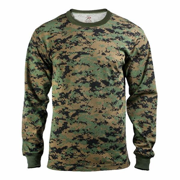 Rothco Tシャツ 長袖 ウッドランドデジタル 5494 [ Lサイズ ] ロングTシャツ ロンT 長そで