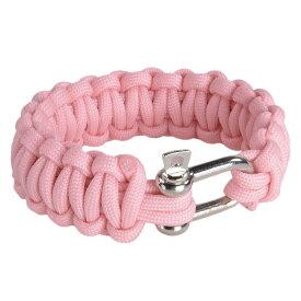 パラコードブレスレット シャックル 蓄光 [ ピンク ] パラシュートコード コード・ブレス 腕輪 ナイロンブレスレット
