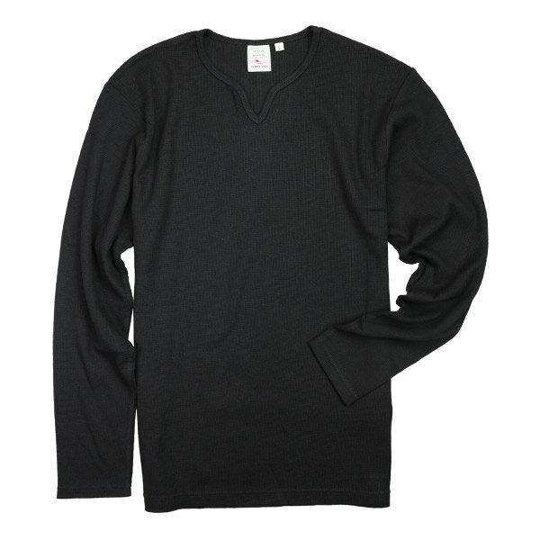 AVIREX Tシャツ 長袖 デイリー キーネック ワッフル [ ブラック / XLサイズ ] ロングTシャツ ロンT 長そでアヴィレックス アビレックス 6143329 DAILY ミリタリーシャツ 長袖シャツ