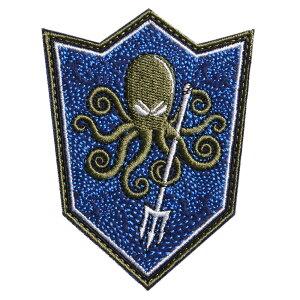 ミリタリーワッペン Octopus シールド型 ベルクロ 刺繍 [ ブルー ] ミリタリーパッチ たこ オクトパス 盾型 アップリケ 記章 スリーブバッジ